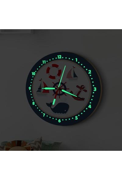 DekorLoft Fosforlu Gece Parlayan Çocuk Odası Duvar Saati Denizci