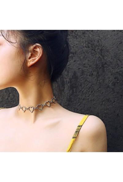 Alp Collection Punk Harajuku Sıralı Gri Kalpli Kadın Choker 35 cm Kolye
