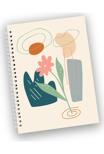 3'lü Spiralli Noktalı Defter Seti - Flowers Series