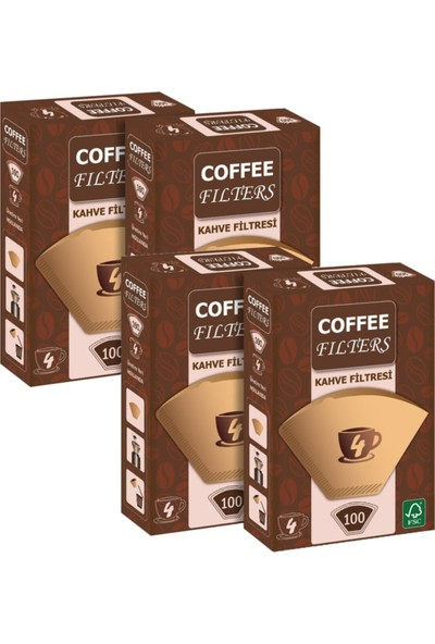 Coffee Filters No:4 4 Numara Filtre Kahve Kağıdı Brown 100'LÜ 4 Paket
