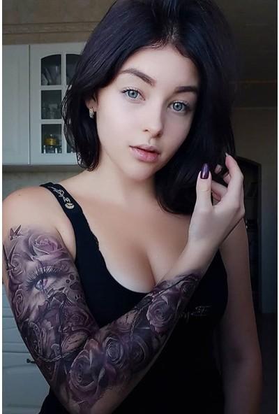 Takıştır Gül ve Göz Detaylı Kol Dövme Tattoo