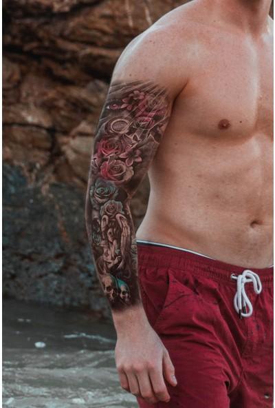 Takıştır Geçici Kurukafa ve Göz ve Gül Kol Dövme Tattoo