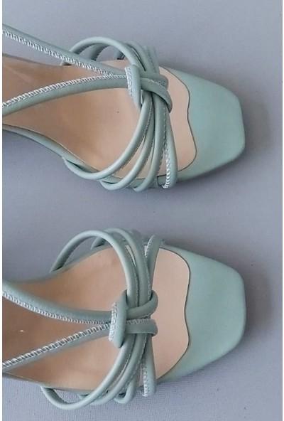 Zulu Kadın Su Yeşili Biyeli Kısa Topuklu Sandalet