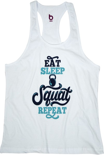 Bluu Fitness Gym Tank Top Sporcu Atleti Squatwhite