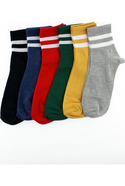 6'lı Paket Beyaz Çizgili Renkli Pamuklu Kısa Soket Erkek Kadın Çorap
