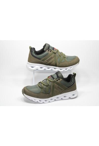 Bewild Günlük Yürüyüş Spor Ayakkabı Yanı Çizgili Beyaz Taban Yeşil