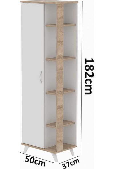 Aeka Mono Çok Amaçlı Banyo Dolabı 9 Raflı Kapaklı Beyaz