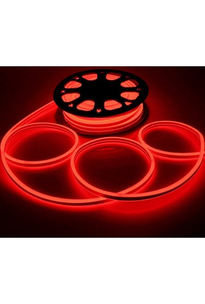Agb LED Neon Esnek Şerit LED 2 Metre Kırmızı + 220 Volt Fiş Dahil