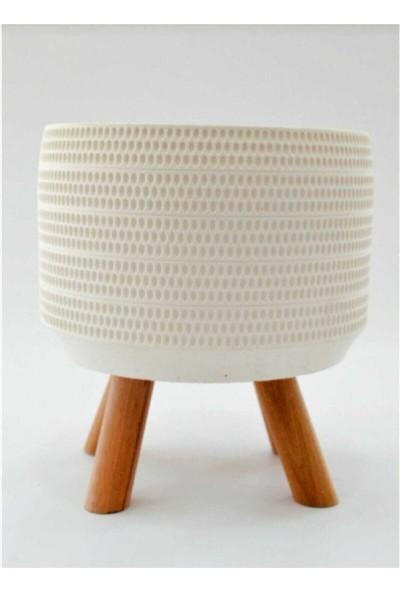 COLLECTION77 Ahşap Ayaklı Beton Saksı 16X15 cm Beyaz