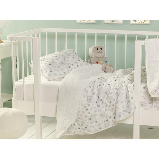 English Home Dandelion Pamuklu Yastıklı Bebe Yorgan Set 95 x 145 cm Gri