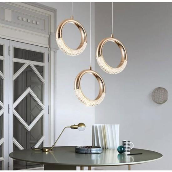 Burenze Elegance Modern Tasarım Üçlü Sarkıt LED Avize Gold Sarı Harika Görsel BURENZE818