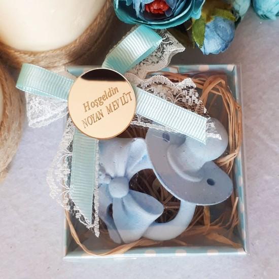 Hayaller Dükkanı 30 Adet Emzikli Mavi Kokulu Sabun Erkek Bebek Şekeri