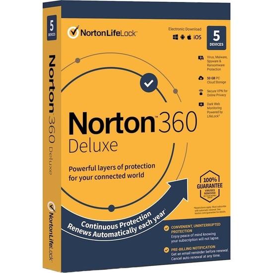 Symantec Norton 360 5 Kullanıcılı 1 Yıllık Koruma Yeni Versiyon