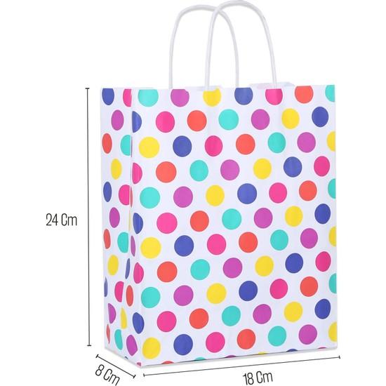 Paketleme Tezgahı 18*24*8 Renkli Puantiyeli Saplı Kağıt Çanta 25 Adet