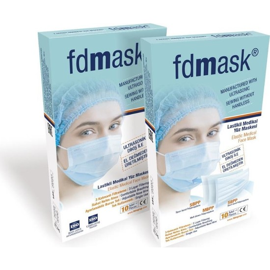Fdmask Meltblownlu Maske 3 Katlı Telli Ultrasonik 10 Adet