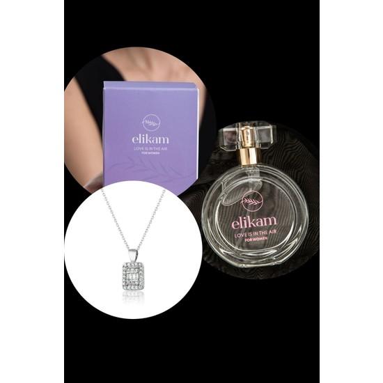 Elika Bijoux Kadın Parfüm ve Baget Taşlı Kolye