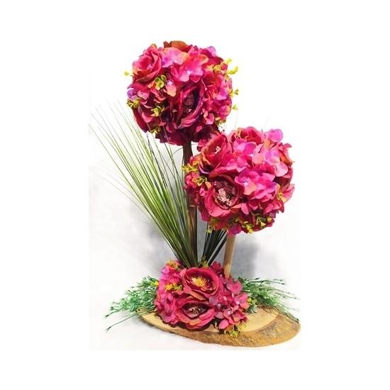 Beyoğlu Yapay Çiçek Tasarım Pembe 2'li Yapay Çiçek Aranjmanı Ahşap Tabanlı