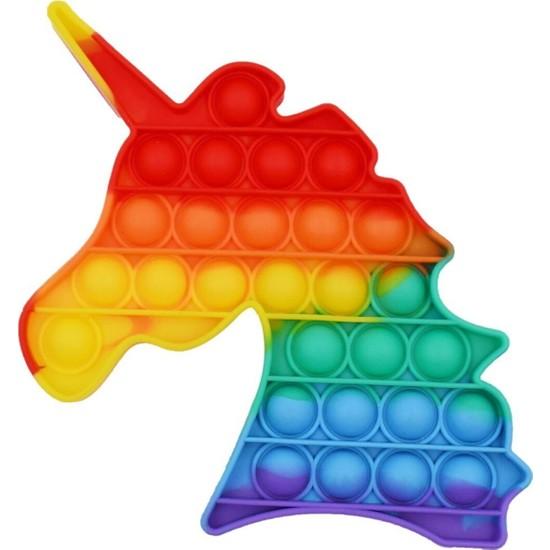 Zemtigo Pop It Push Bubble Fidget Popit Duyusal Stres Oyuncak Unicorn Şekilli Renkli Zihinsel Stres Oyunu