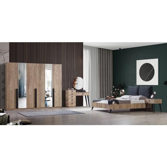 Feyza Mobilya Premium 6 Kapılı Bazalı Yatak Odası No2