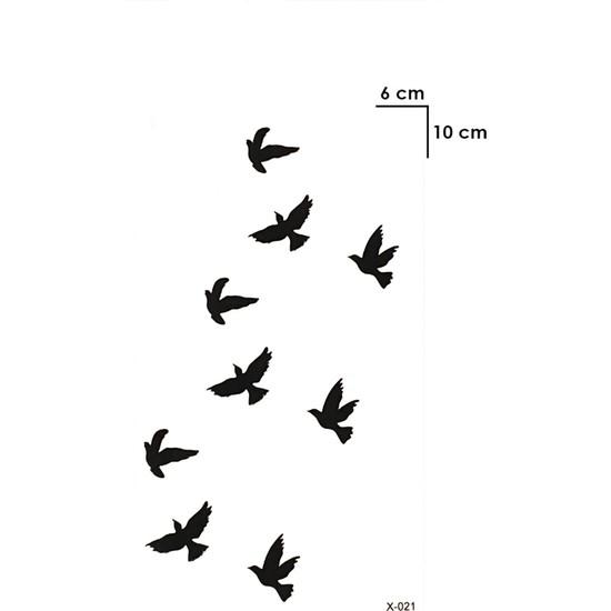 Takıştır Geçici Karışık Kuş Mini Dövme Tattoo