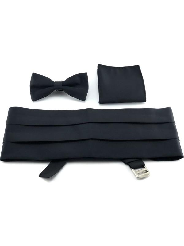 Pierroni Siyah Kuşak Papyon Mendil Set