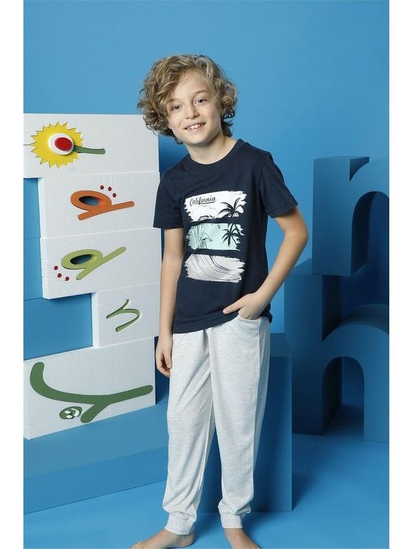 Hmd Erkek Çocuk Lacivert Kısa Kollu Pijama Takımı 5498