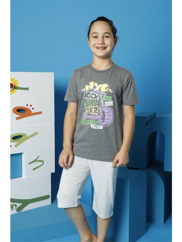 Hmd Erkek Çocuk Garson Boy Gri Kısa Kollu Kapri Takım 7146