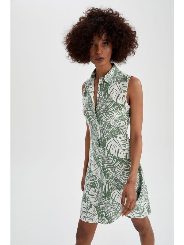 DeFacto Egzotik Desenli Relax Fit Gömlek Elbise