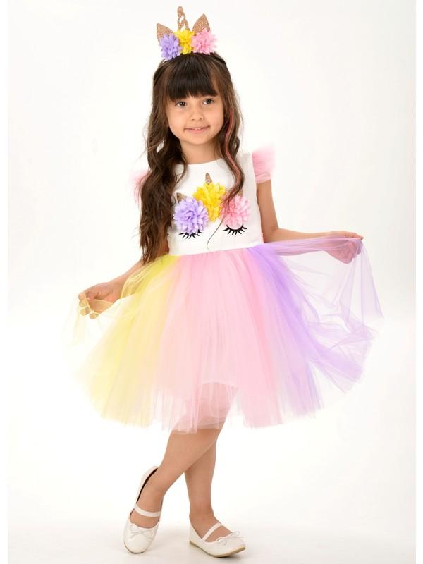 Unicorn Taçlı Rengarenk Kız Çocuk Parti Elbisesi