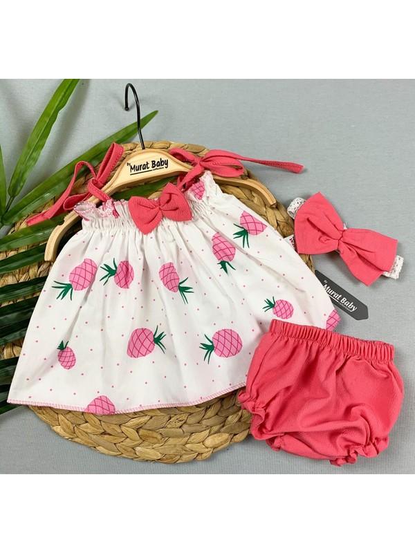 Kız Bebek Ananaslı 3 Parça Elbise