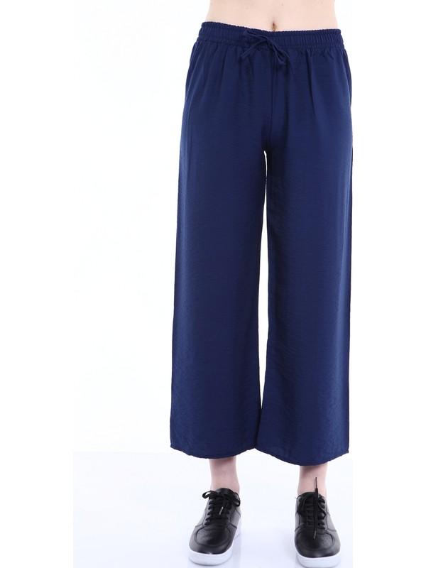 Rodi DS21YB015589 Lacivert Kadın Airobinli Kumaş Bol Paça Pantolon