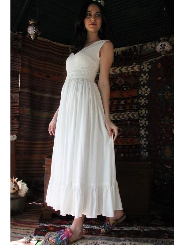 Nur Oskay Beyaz Pamuk Pandora Elbise
