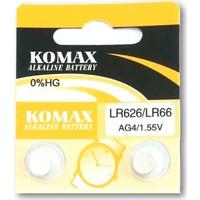 Komax Alkalin Pil - Ag4 / LR626 Düğme Pil 1,55V - 2'li Paket