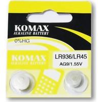 Komax Alkalin Pil - Ag9 / LR936 Düğme Pil 1,55V - 2'li Paket