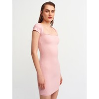Dilvin 9110 Kalp Yaka Mini Elbise-Pembe