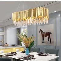 Burenze Luxury Modern Kristal Taşlı Sarkıt Avize Yemek Masası Gold Sarı BURENZE815