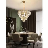 Burenze Luxury Modern Kristal Taşlı Sarkıt Avize Parlak Gold Sarı 60'lık BURENZE782