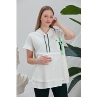 Görsin Hamile Gör&sin Ön File Detaylı Şeritli Kapşonlu Hamile Beyaz Tişört