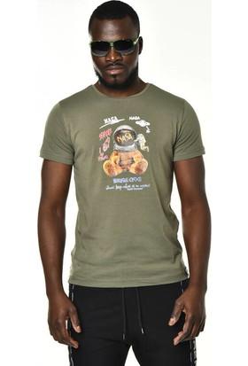 David&Gerenzo Haki Nasa Baskı Detay Bisiklet Yaka T-Shirt