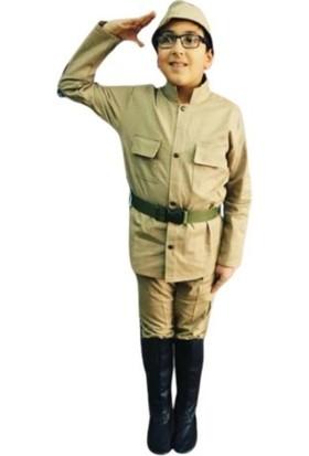 Uğur Böceği Çocuk Çanakkale Askeri Çocuk Kıyafeti Asker Kostüm 4-11 Yaş