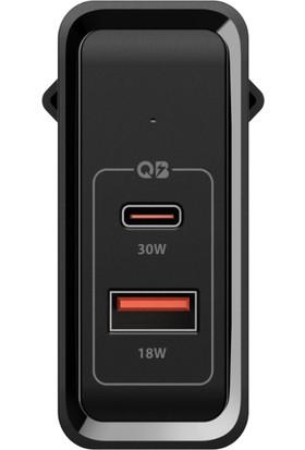 Spigen Steadiboost 48W Hızlı Şarj Cihazı (USB-C PD 3.0 30W + Quick Charge 3.0 18W) iPhone / Android / Macbook Şarj Adaptörü Black F211 - 000AD24973