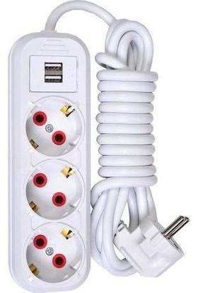 Smart Socket 3'lü Grup Priz 2 x USB 5m Kablo Beyaz