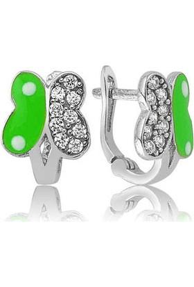 Gumush Gümüş Yeşil Kelebek Çocuk Küpe