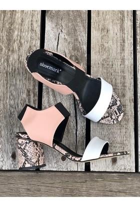 Shoemark Flora Beyaz Pudra Topuklu Kadın Sandalet