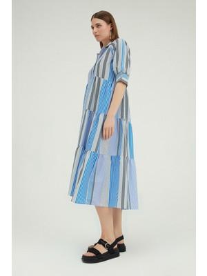 Quzu Çizgili Gömlek Yaka Midi Elbise Mavi