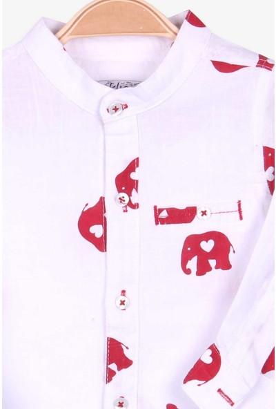 Jack Lions Erkek Çocuk Gömlek Fil Desenli Beyaz (1-4 Yaş)