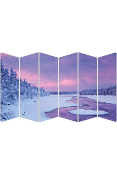 Renkselart Kar Buz Donmuş Nehir Mdf TABLO-0689 Model-B