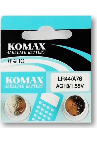 Komax Alkalin Pil - AG13 / LR44 Düğme Pil 1,55V - 2'li Paket