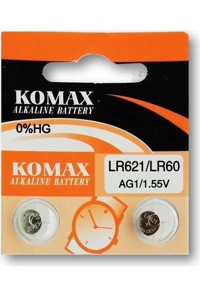 Komax Alkalin Pil - Ag1 / LR621 Düğme Pil 1,55V - 2'li Paket