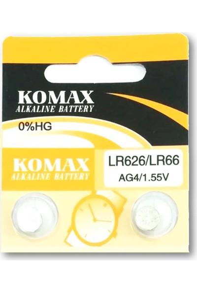 Komax Alkalin Pil - Ag4 / LR626 Düğme Pil 1,55V - 10'lu Paket